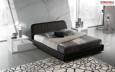 LETTO QUEEN + 2 PANCHETTE CLASS, MADE IN ITALY