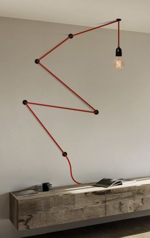 snake lamp cavo rosso, lampada industrial, filamentstyle