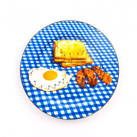Porcelain Plate  Breakfast Gold Border
